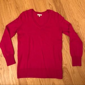 Gap luxe hot pink v neck sweater